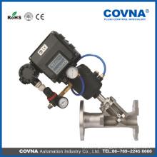 Aço inoxidável 304/316 válvula de assento de ângulo pneumático com tipo de flange