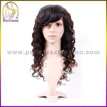 Kaufen Sie chinesische Produkte unverarbeitete Haar billige Jungfrau menschliche Perücken mit Pony