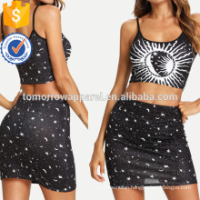 Galaxy Print Crop Top With Skirt Manufacture Wholesale Fashion Women Apparel (TA4040SS)
