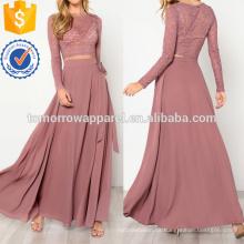 Top de encaje y falda de nudo Set Fabricación de ropa de mujer de moda al por mayor (TA4081SS)