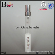 hot selling empty 9ml white perfume tube glass bottle for cosmetic use, made in China
