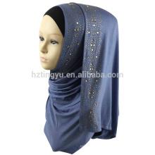 2017 novo padrão de moda mulheres muçulmanas desgaste da cabeça pedra estiramento jersey hijab lenço xale