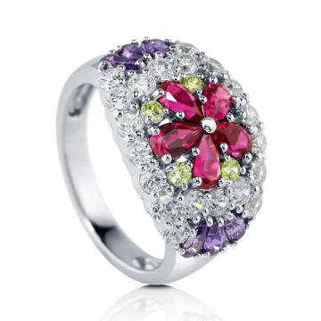 Joyería del anillo de la plata CZ de la piedra 925 del color de la flor
