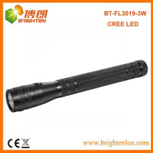 Fábrica de fornecimento de logotipo impresso CE 180lumen 3 * aaa bateria operada de alumínio Power Bright 3watt Cree levou lanterna de alumínio