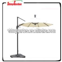 10 pies al aire libre de aluminio LED bombilla de iluminación solar de la energía solar colgando paraguas