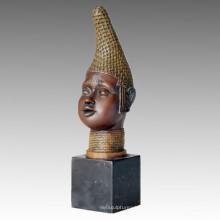 Bustes Bronze Sculpture Noir Mâle Découpage Décoration Statue en laiton TPE-097