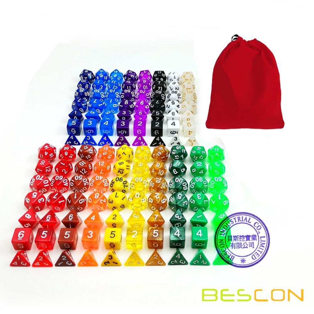 BESCON Assorti Colored Polyhedral RPG Dice Set 126pcs