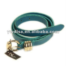 Blue Plain Leather Belt For Woman