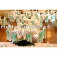 couverture de chaise de polyester 100 %, couverture de chaise d'hôtel/banquet, ceinture en Satin
