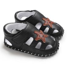 Baby Boy Shoes Newborn Footwear Black Grey Male Baby Shoes Summer Toddler First Walker PU Leather Infant Prewalker
