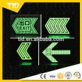 Photoluminescent Metro evacuation arrows, photo luminescent film