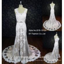 Spaghetti-Bügel elegante Spitze Applique Braut Meerjungfrau Kleid Muster