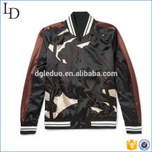 Print camouflage satin varsity jacket wholesale bomber jacket men