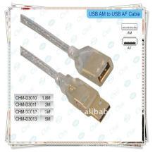 Cable USB, macho a hembra Cable chapado en oro