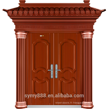 Feuille galvanisée de peau de peinture de cuivre rouge de porte de sécurité d'entrée de double de villa en acier
