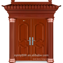 Steel Villa Double Entry Security Door Red Copper Painting Skin Galvanized Sheet