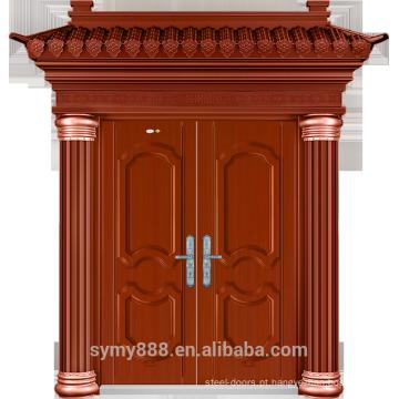 Folha galvanizada pele de aço da pintura da cobre da porta da segurança da entrada dobro da casa de campo da casa de banho