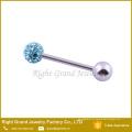 Atacado de alta qualidade em aço inoxidável Rhinestone Crystal Ball anel de língua