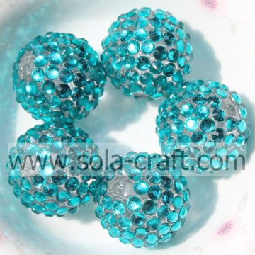 Newest Resin Rhinestone Beads 18*20MM Turquoise With Clear For Jewelry