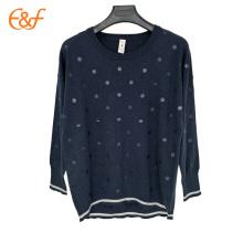 Ultimas Moda Navy Blue Digital Printing Sweater Blouse Design