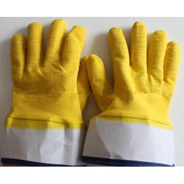 Желтые латексные защитные перчатки с манжетами на хлопковой подкладке