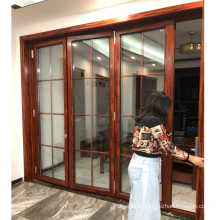 Wooden color powder coated with grills design folding partition wall