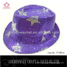 2013 Mais recente chapéu de fedora de lantejoulas Purples