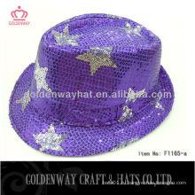 2013 Новый блеск fedora hat Purples