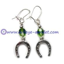 Evil Eye Lucky Horseshoe Charm Green Dangle Earrings