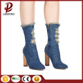 Denim Leather spring Boots Chunky High Heel