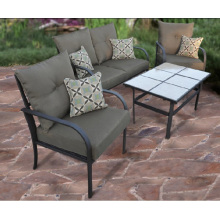 Outdoor wicker furniture 4pc chat set with cushion and tile table top