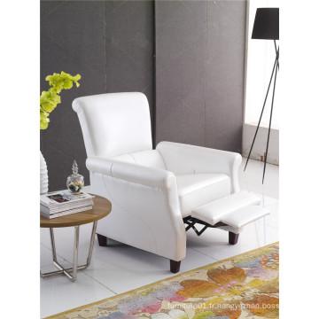 Canapé en cuir à chaise longue en cuir véritable Canapé inclinable électrique (775)