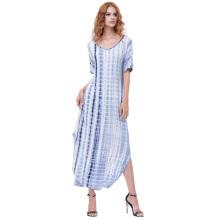 Kate Kasin Womens suelta cómoda manga corta V-cuello Tie Dye Casual Maxi vestido KK000701-2