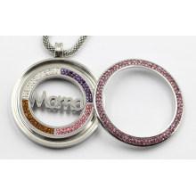 Pendentif médaillon en acier inoxydable 316L avec pièce de mana à l'intérieur pour le cadeau