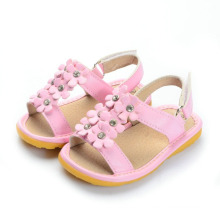 Solid Pink Small Flowers Baby Squeaky Sandals with Shining Stones