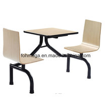 School Canteen Two Seater Connected Table Chair Set (FOH-CBC04)