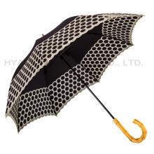 Señoras Bordado manual abierto recta paraguas de la moda