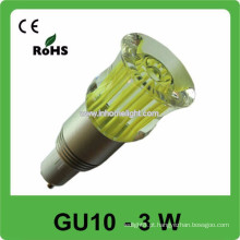 CE & ROHS 3w AC 85v-265v RGB conduziu o bulbo da luz do ponto gu10, 3 anos de garantia