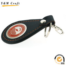 Black PU Leather Hot Press Logo Keychain Ym0881