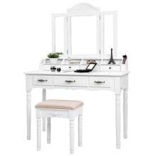 Set de mesa de vanidad de escritura 7 cajones con juego de taburete acolchado con espejo