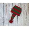 Christmas hat for baby cotton crochet hat in red green