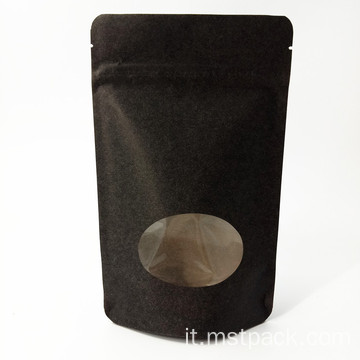 Stand Up Pouch Sacchetto di carta Kraft con cerniera