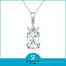 Collar de diamantes al por mayor AAA plateado joyería del collar de rodio (J-0121N)