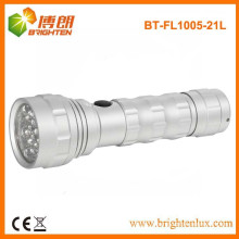 Factory Supply OEM EDC Metal Material 3AAA cell Powered 21led aluminum led flashlights made in china