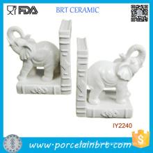 Decorative 2PCS White Glazed Ceramic Elephants Bookend