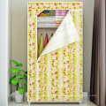Double Canvas Effect Wardrobe Clothes Cupboard Hanging Rail Storage