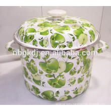 Full decal Enamel steamer pot with enamel lid Full decal Enamel steamer pot with enamel lid