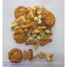 Biscoitos de arroz com amêndoas de milho e amendoim revestido