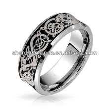 Laser geätzte schwarze keltische Drache Comfort Fit Concave Wolfram Hochzeit Band Ring
