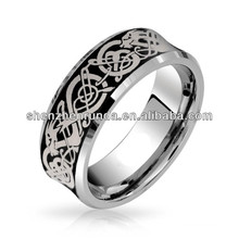 Laser Etched Black Celtic Dragon Comfort Fit Concave Tungsten Wedding Band Ring